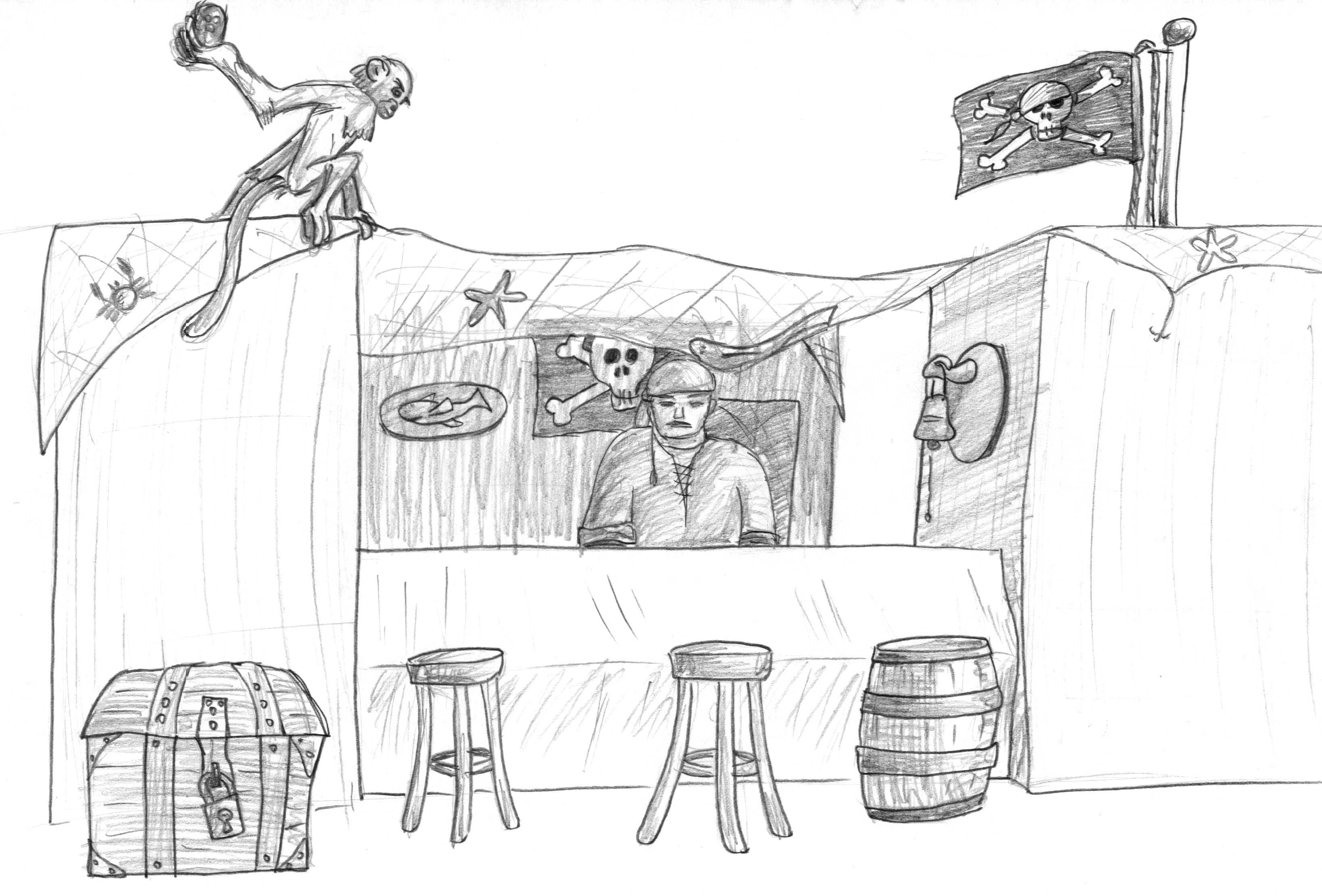 Our Pirates Bar 'To the squabbling Flunder'. Pencil.