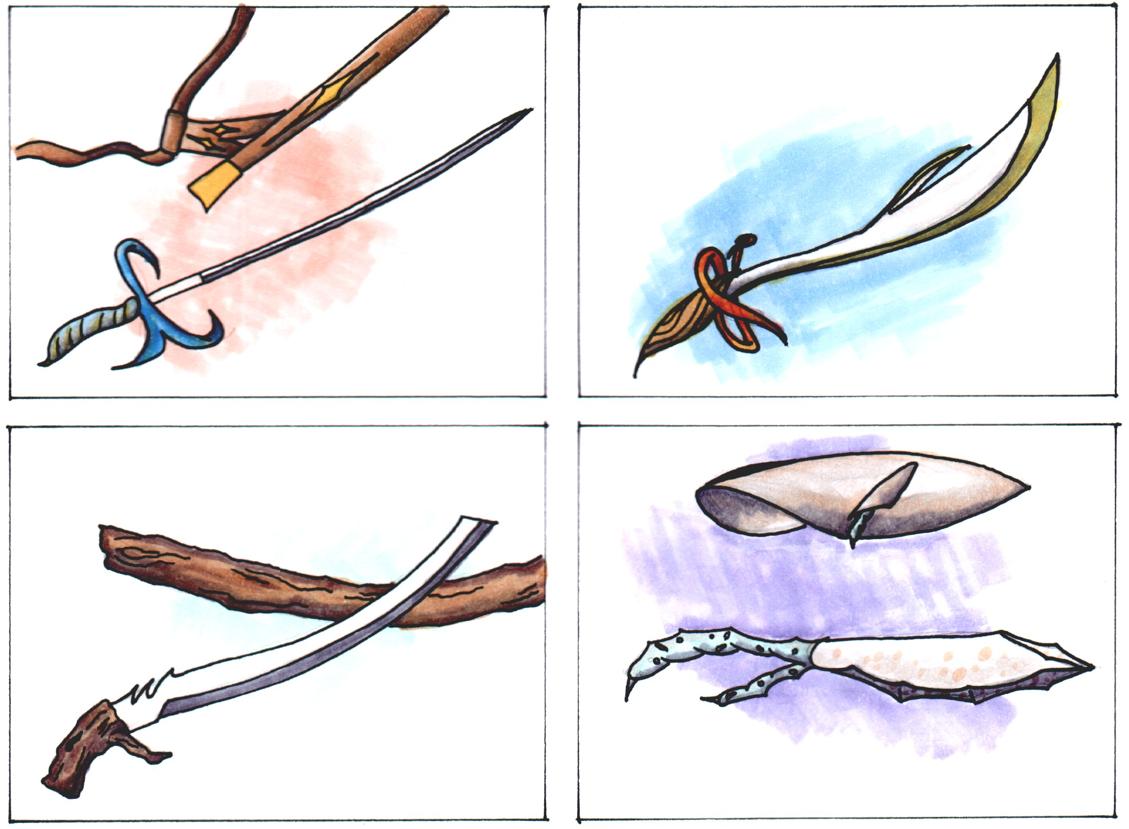 Some various ideas for 'Elven Swords', in Trading Card Style. Pencil, Ink and Copics marker.