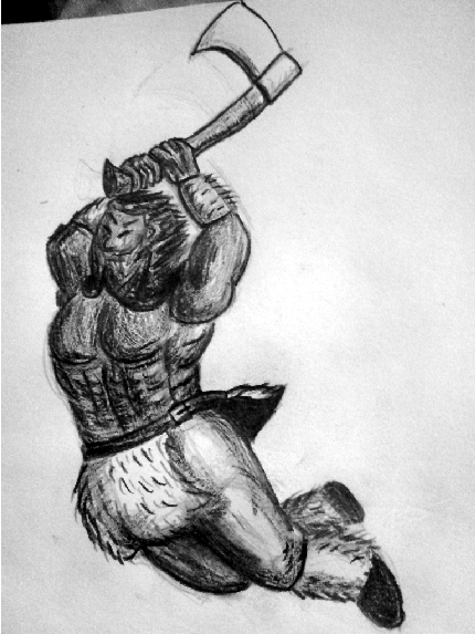 Dwarfberserk 'Gobhan' for the roleplaying-game Arcane Codex (Copyright Nackter Stahl Verlag; Fanart).