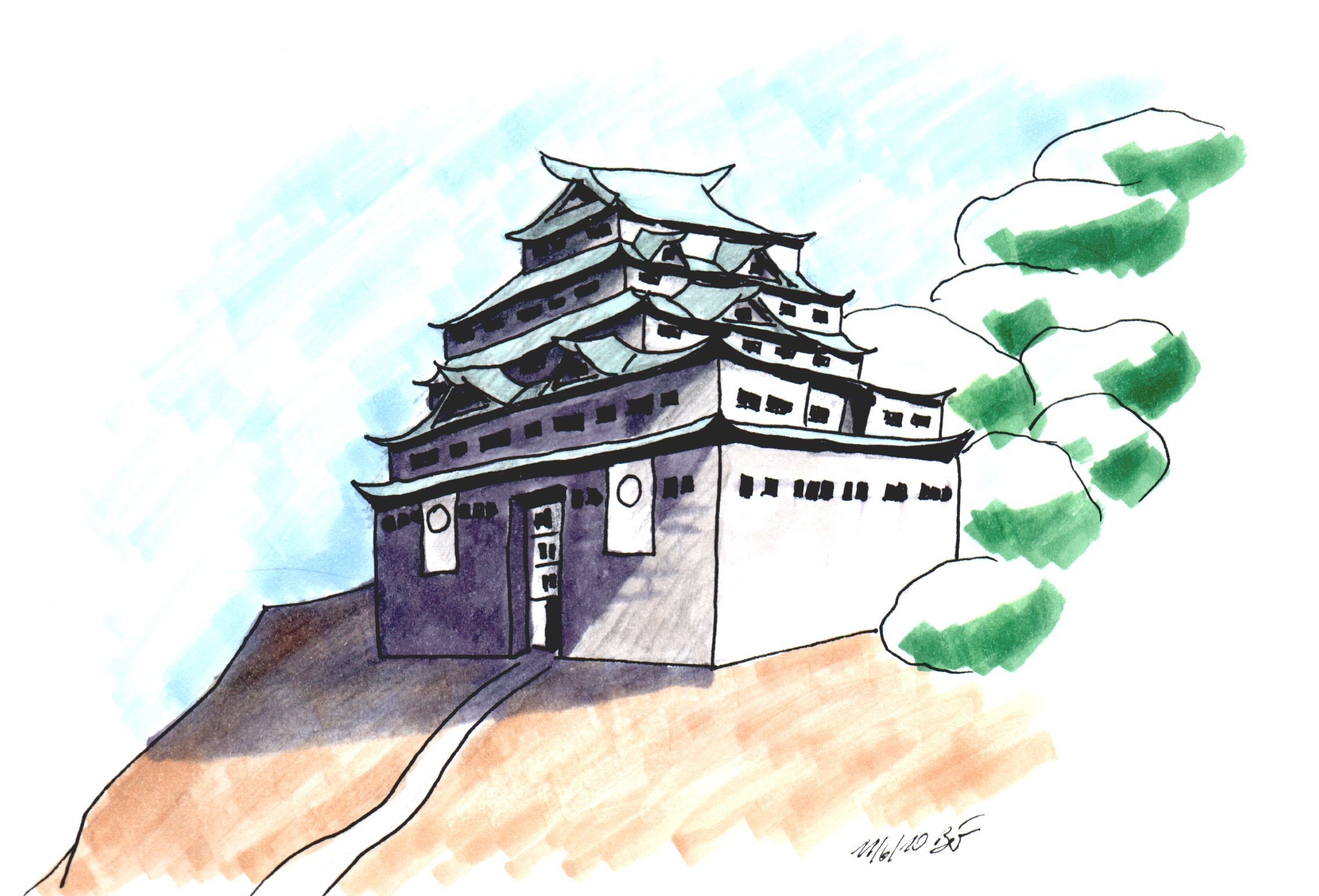 A japanese castle. Pencil, Ink, copics.