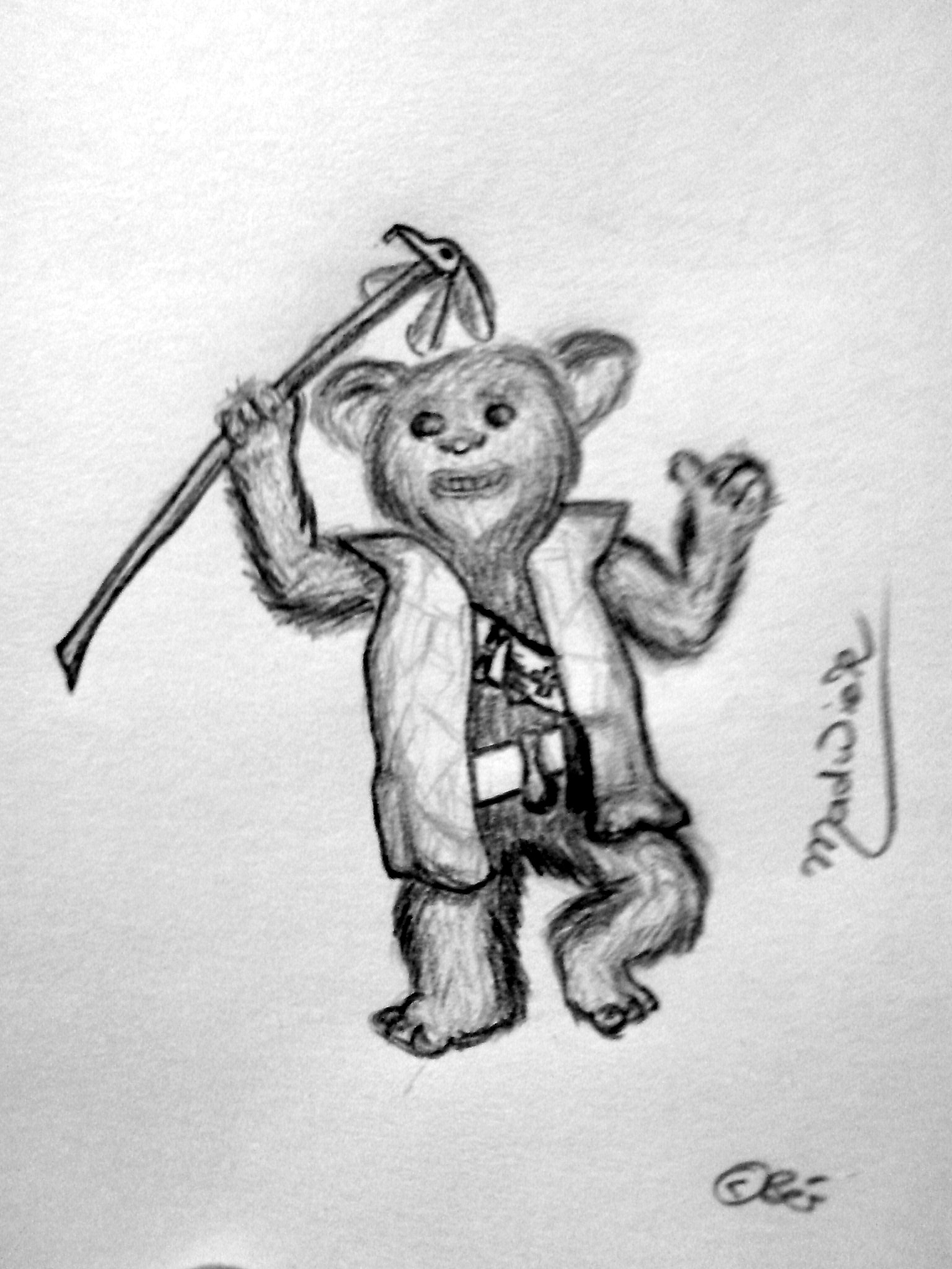 Ewok-Shaman 'Madwick' for the roleplaying-game Star Wars (Copyright Wizard of the Coast Verlag; Fanart).