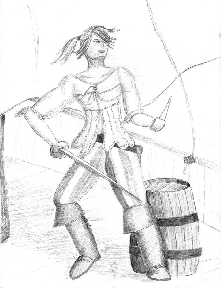 Fencer girl for the short scenario Pirates of the Nexus e.V.