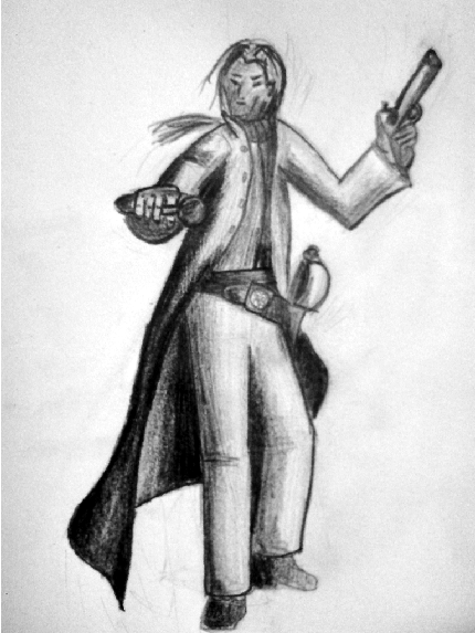 Pistolero 'Toben' for the roleplaying-game Arcane Codex (Copyright Nackter Stahl Verlag; Fanart).