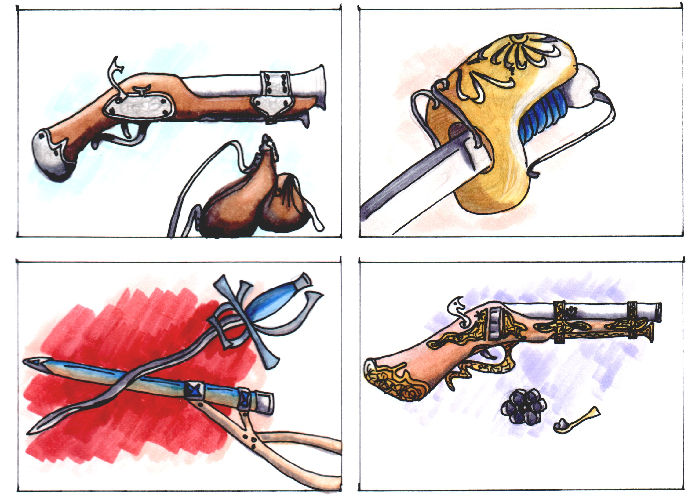 Some various ideas for 'Swords and Pistols', in Trading Card Style. Pencil, Ink and Copics marker.